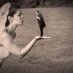 trickfoto af brudepar